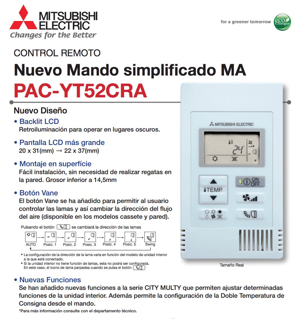 Control simple PAC-YT52CRA Mitsubishi Electric Aire Acondicionado