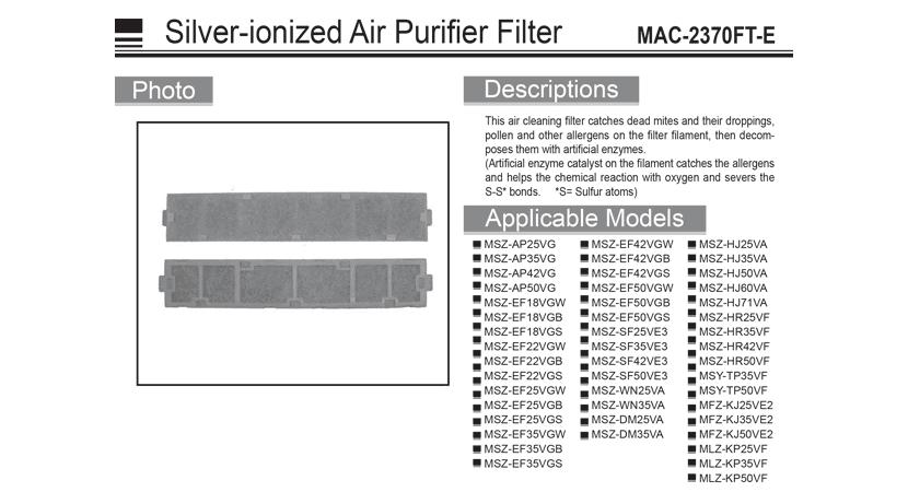 Filtro purificador de aire de plata ionizada (manual) - MAC-2370FT-E